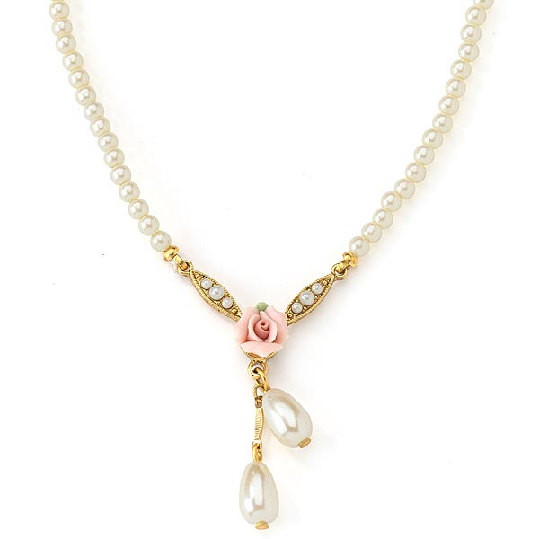 Gold-Tone Pink Genuine Porcelain Rose and Faux Pearl Drop Necklace