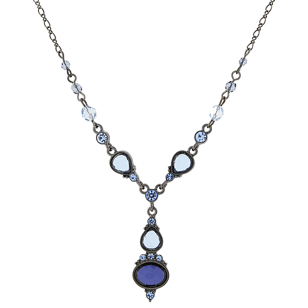 2028 Black Metal Blue Faceted Victorian-Inspired Y Necklace $28.00 AT vintagedancer.com