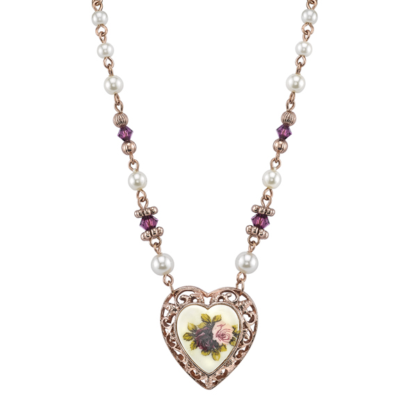 Manor House Rose Gold-Tone Floral Decal Heart Pendant Necklace