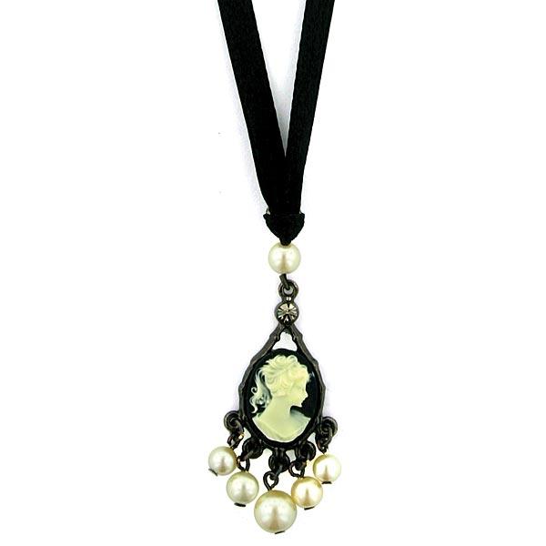 Kimberlys Cameos Ribbon Necklace $24.00 AT vintagedancer.com