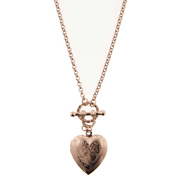 Tiffany-Style Vintage-Inspired Heart Toggle Charm Necklace