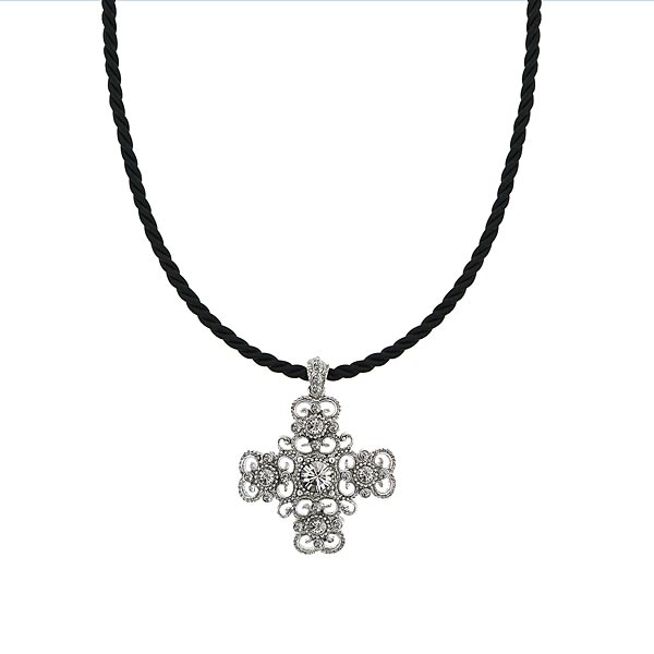 Vintage Inspired Filigree Cross Rope Cord Pendant Necklace $36.00 AT vintagedancer.com