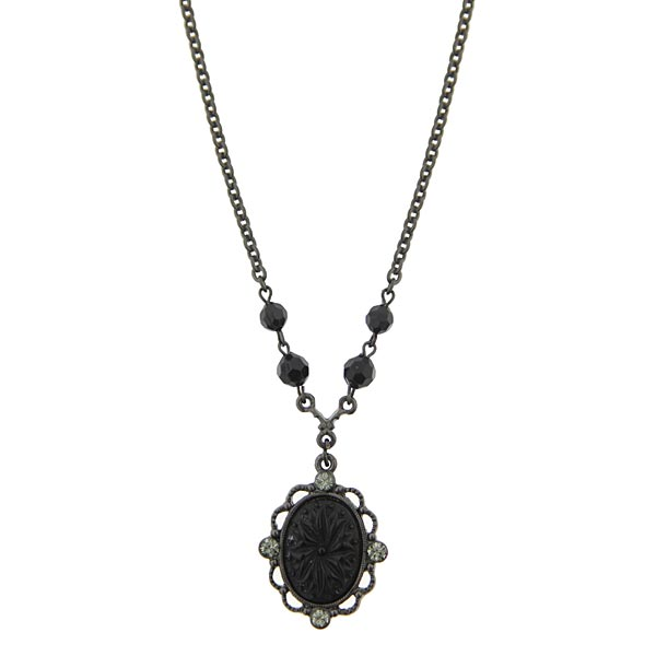 Victorian Gothic Black & Diamond Pendant Necklace