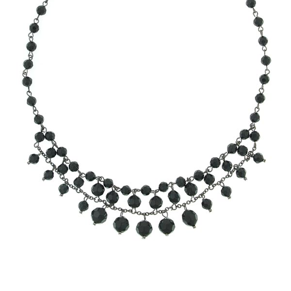 Black Faceted Bead Necklace