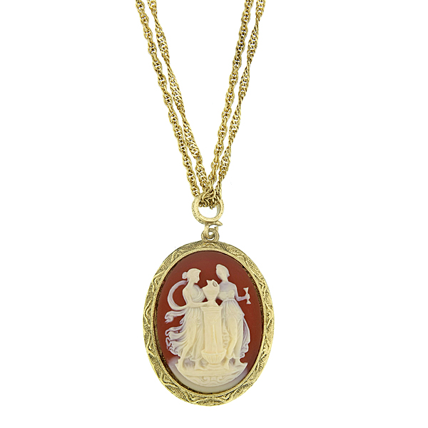 Brass-Tone Oval Cameo Pendant Necklace $36.00 AT vintagedancer.com