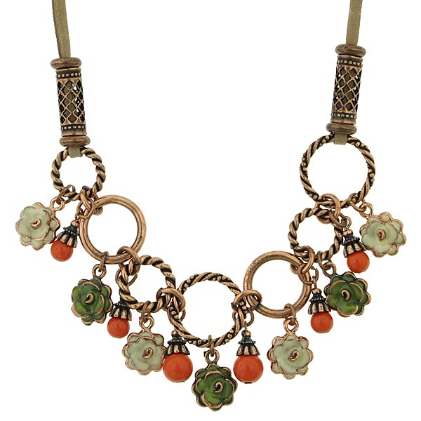 Copper-Tone Multi-Color Enamel Flower Necklae