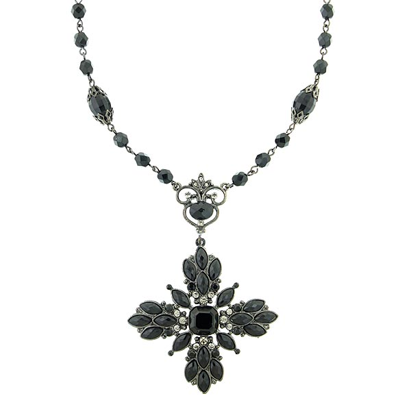 Victoria Black Vintage Pendant Necklace $75.00 AT vintagedancer.com