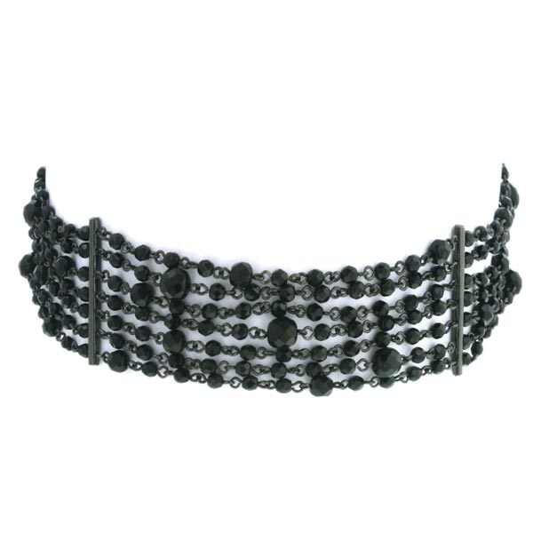 Antiquities Couture Victorian-Inspired Black Beaded Multi-Row Choker $160.00 AT vintagedancer.com