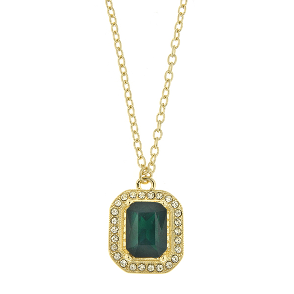 Gold-tone Emerald Green And Crystal Octagon Pendant Necklace