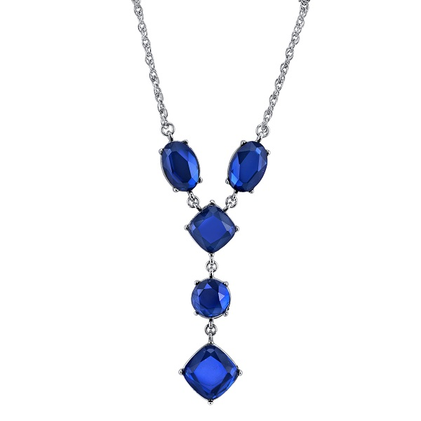 Deep Sapphire Blue Jewel Y-Necklace