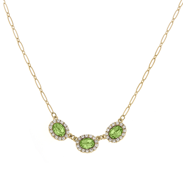 2028 Luxe Pastels Gold-Tone Green and Crystal Necklace