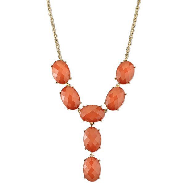 1920sAccessoriesGuide 2028 Sunset Gold-Tone Faux Coral Faceted Y Necklace $34.00 AT vintagedancer.com