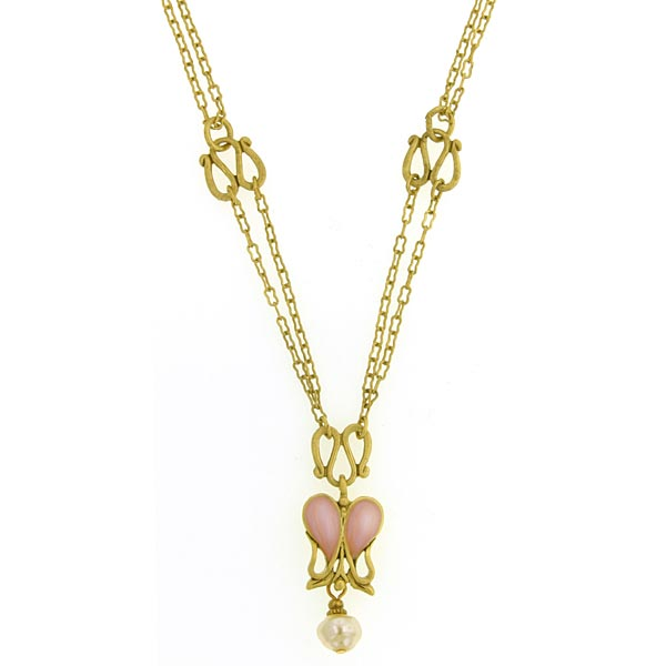 Antiquities Couture Gold-Tone Pink Iris Enamel and Faux Pearl Necklace