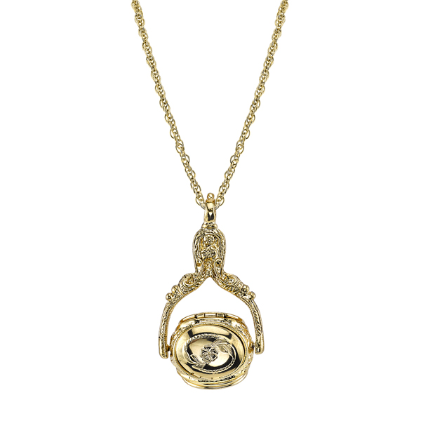 Victorian Style Gold-Tone Rotating Locket Necklace $36.00 AT vintagedancer.com