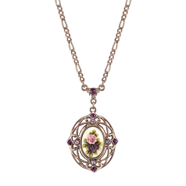 Manor House Rose Gold-Tone Filigree Floral Oval Pendant Necklace
