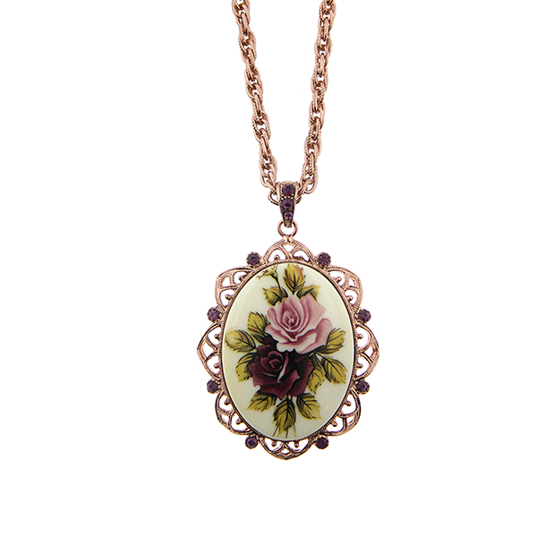 Manor House Rose Gold-Tone Floral Decal Oval Pendant Necklace $45.00 AT vintagedancer.com