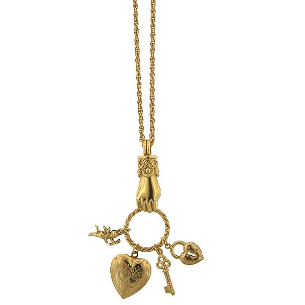 Gold-Tone Victorian-Inspired Charm Pendant Necklace $36.00 AT vintagedancer.com