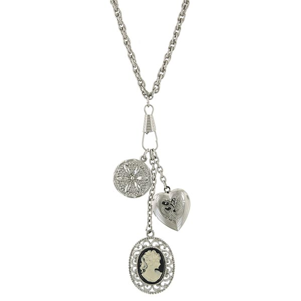 Silver-Tone Heart and Victorian-Inspired Cameo Charm Necklace