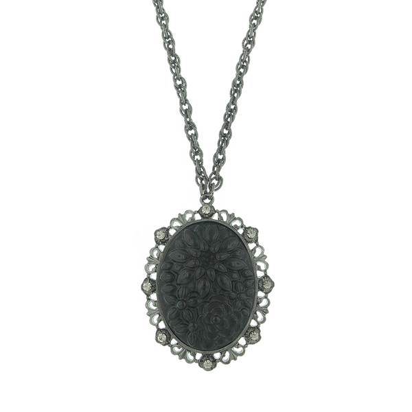 Signature Jet-Tone Oval Pendant Necklace $34.00 AT vintagedancer.com