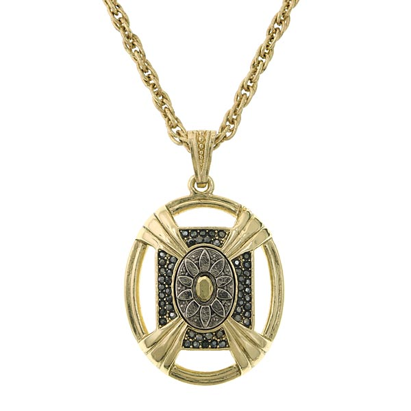 Two-Tone Large Oval Pendant Necklace