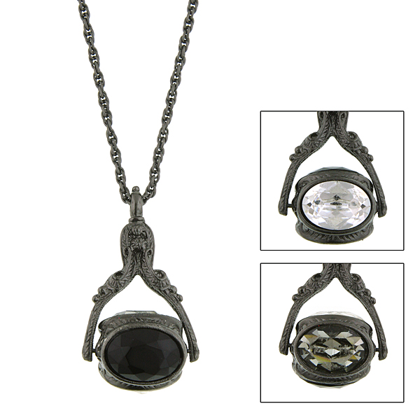 Jet-Tone Black Three-Sided Spinning Pendant Necklace $36.00 AT vintagedancer.com