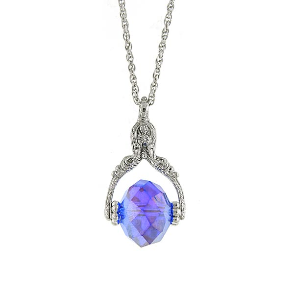 Silver-Tone Blue Aurora Borealis Crystal Spinning Pendant Necklace $24.00 AT vintagedancer.com