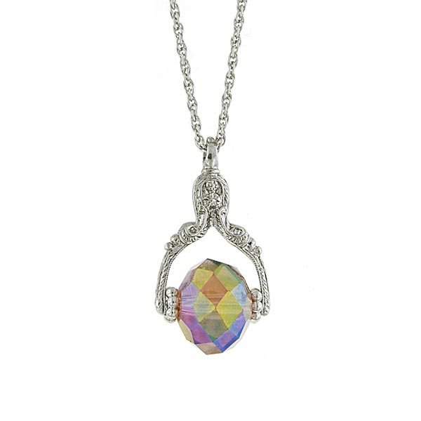 Silver-Tone Purple Aurora Borealis Crystal Spinning Pendant Necklace $24.00 AT vintagedancer.com