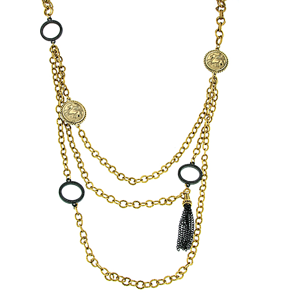 Antiquities Couture Gold-Tone Black Tassel Layered Necklace
