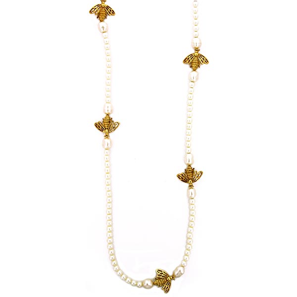 Antiquities Couture Gold-Tone Victorian Style Bumble Bee Faux Pearl Necklace $110.00 AT vintagedancer.com