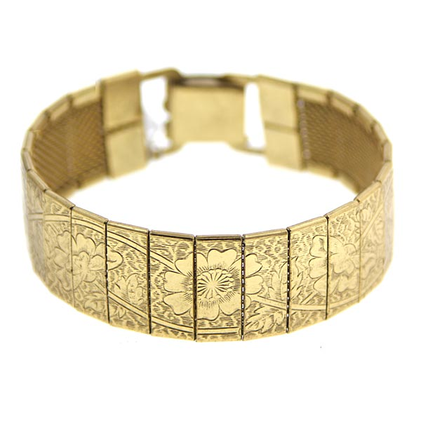 1920sAccessoriesGuide Gold-Tone Engraved Clasp Bracelet $32.00 AT vintagedancer.com