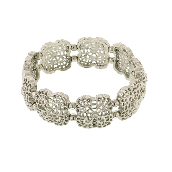 Flower Grid Filigree Silver-Tone Stretch Bracelet $26.40 AT vintagedancer.com