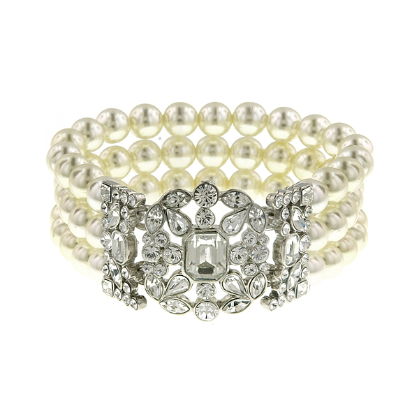 Antiquities Couture Silver-Tone Crystal and Faux Pearl Art Deco Bracelet $125.00 AT vintagedancer.com
