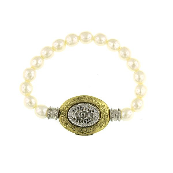 Signature Two-Tone Faux Pearl Filigree Locket Stretch Bracelet