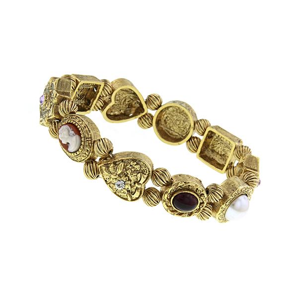 Signature Gold-Tone Charm Stretch Bracelet