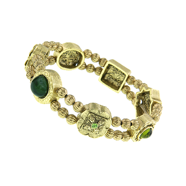 Signature Gold-Tone Green Charm Stretch Bracelet $45.00 AT vintagedancer.com