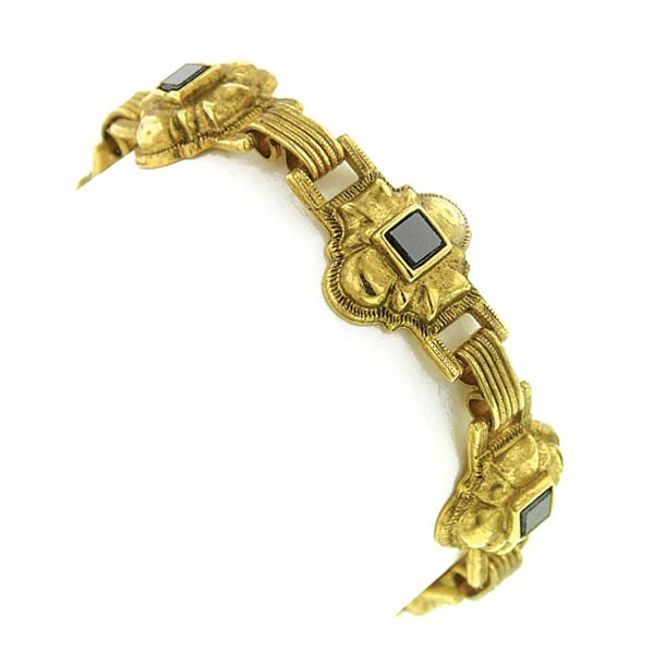 Antiquities Couture Gold-Tone Semi-Precious Onyx Bracelet