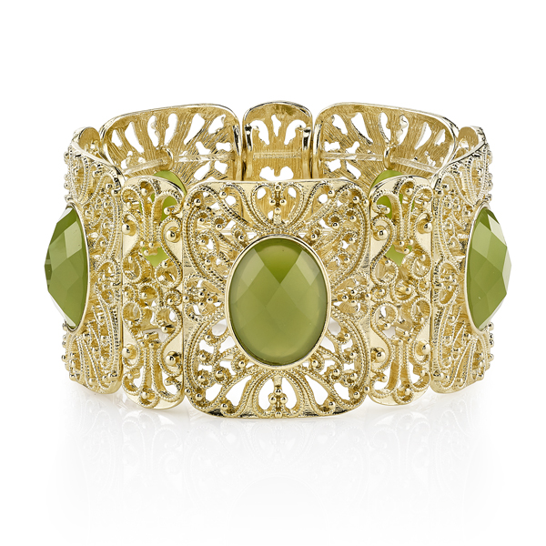 1920sAccessoriesGuide Suriname Gold-Tone Green Filigree Stretch Bracelet $24.00 AT vintagedancer.com