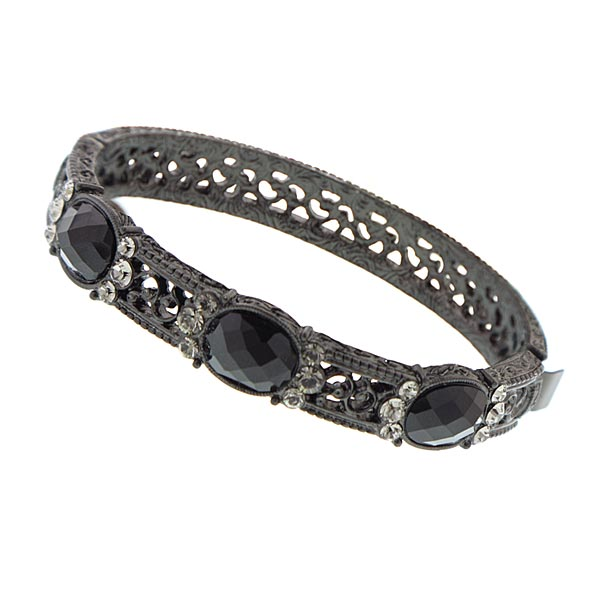 Victorian Jewel Garden Black Clasp Bracelet $38.00 AT vintagedancer.com