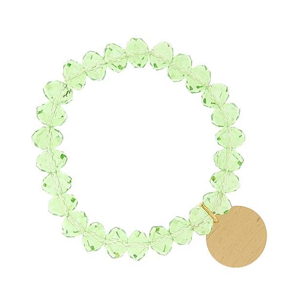 Peridot Green Shimmer Beaded Engravable Charm Bracelet