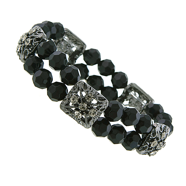 Black-Tone Black Beaded Stretch Bracelet $20.00 AT vintagedancer.com