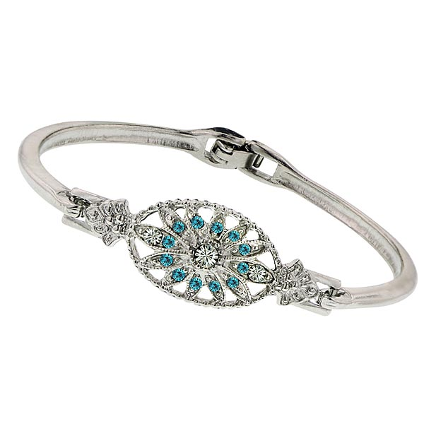 Art Deco Aqua Floral Crystal Bracelet