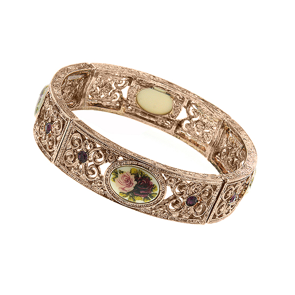 Manor House Rose Gold-Tone Floral Decal Filigree Stretch Bangle $45.00 AT vintagedancer.com