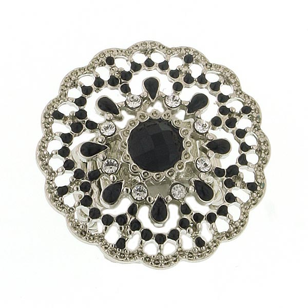 Black and Silver Art Deco Filigree Ring