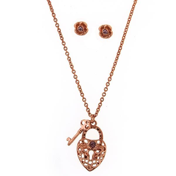Amethyst Lock & Key Necklace & Floral Earring Set